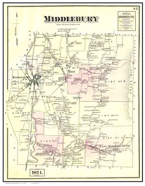 1871 Beers Atlas Poster Map  Middlebury VT  Color Reprints