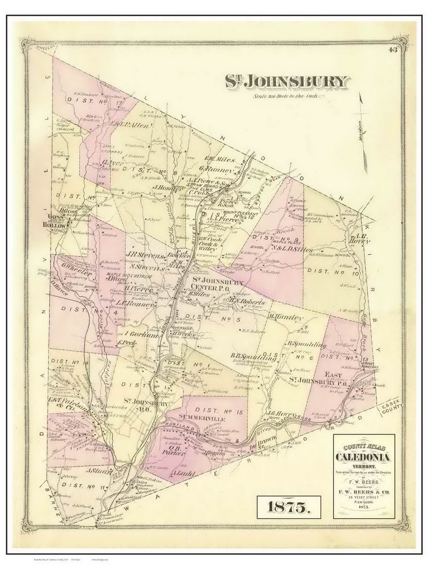 st states central johnsbury united vt of lowland map