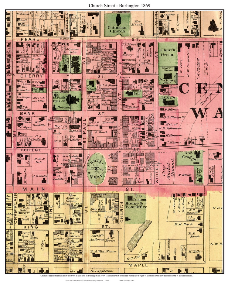 Old Maps Of Church StreetBurlington VT