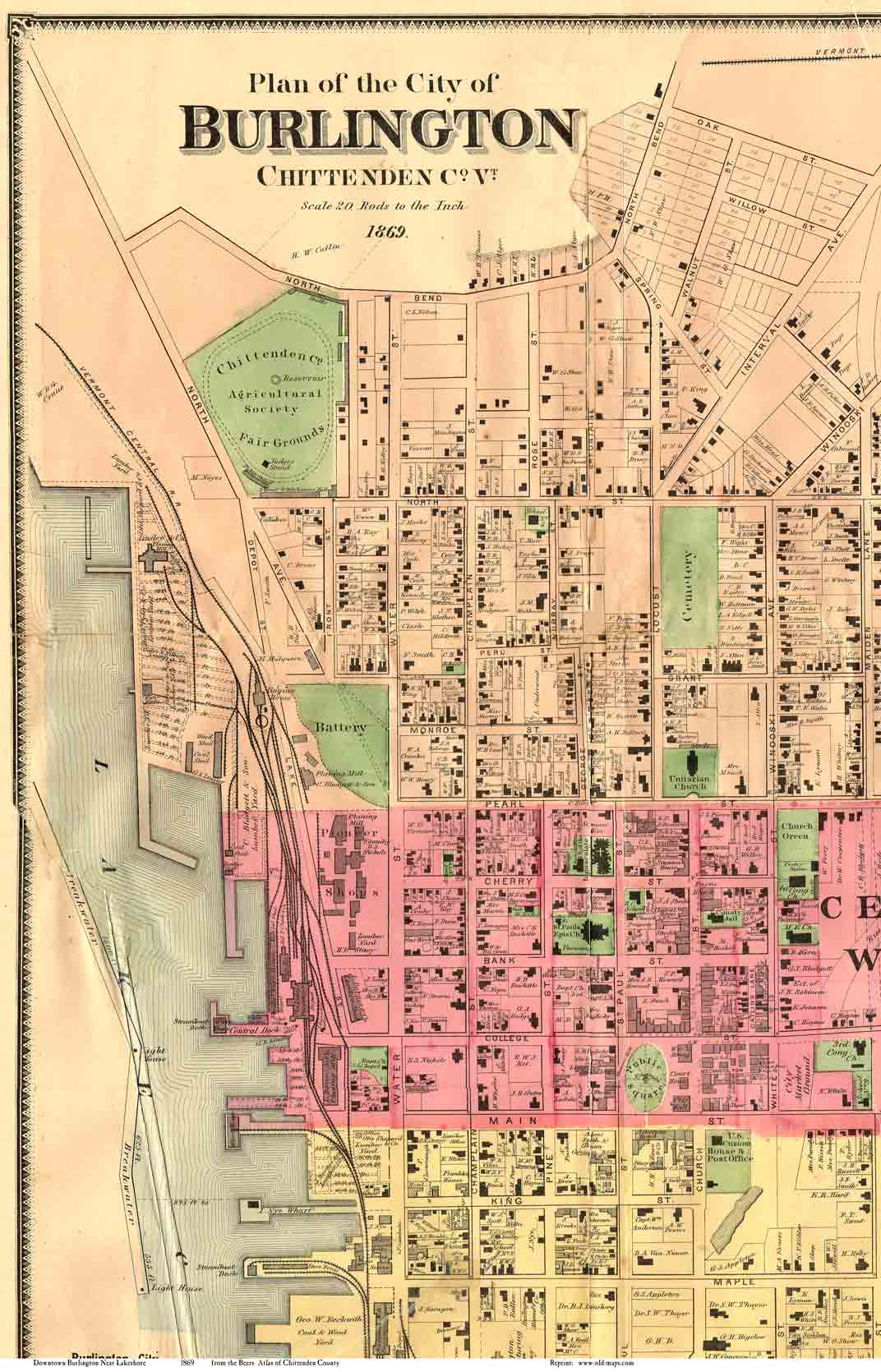 Old Maps Of Burlington VT