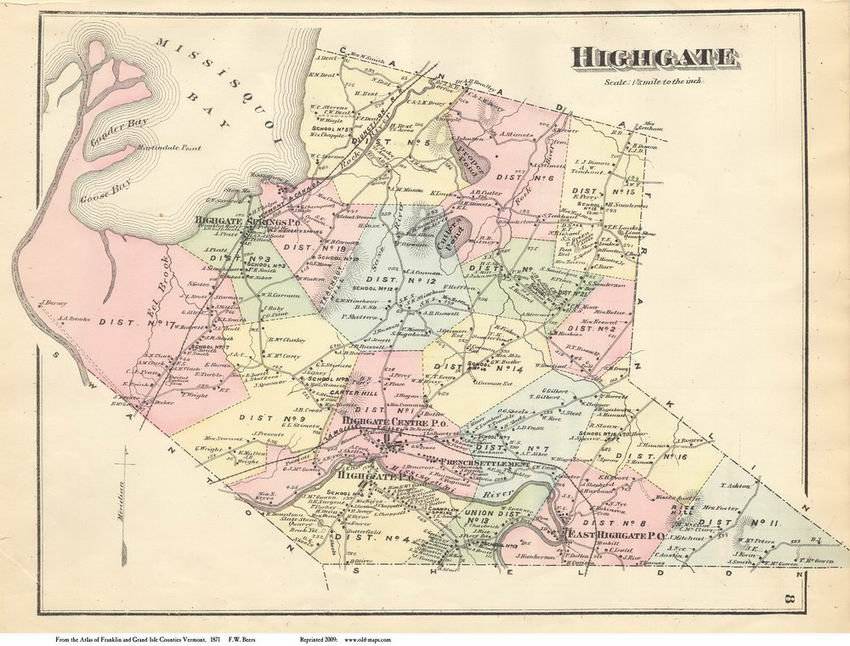 Directory Vermontvttownsfranklincobeers: Map Of Highgate Vermont At Usa Maps