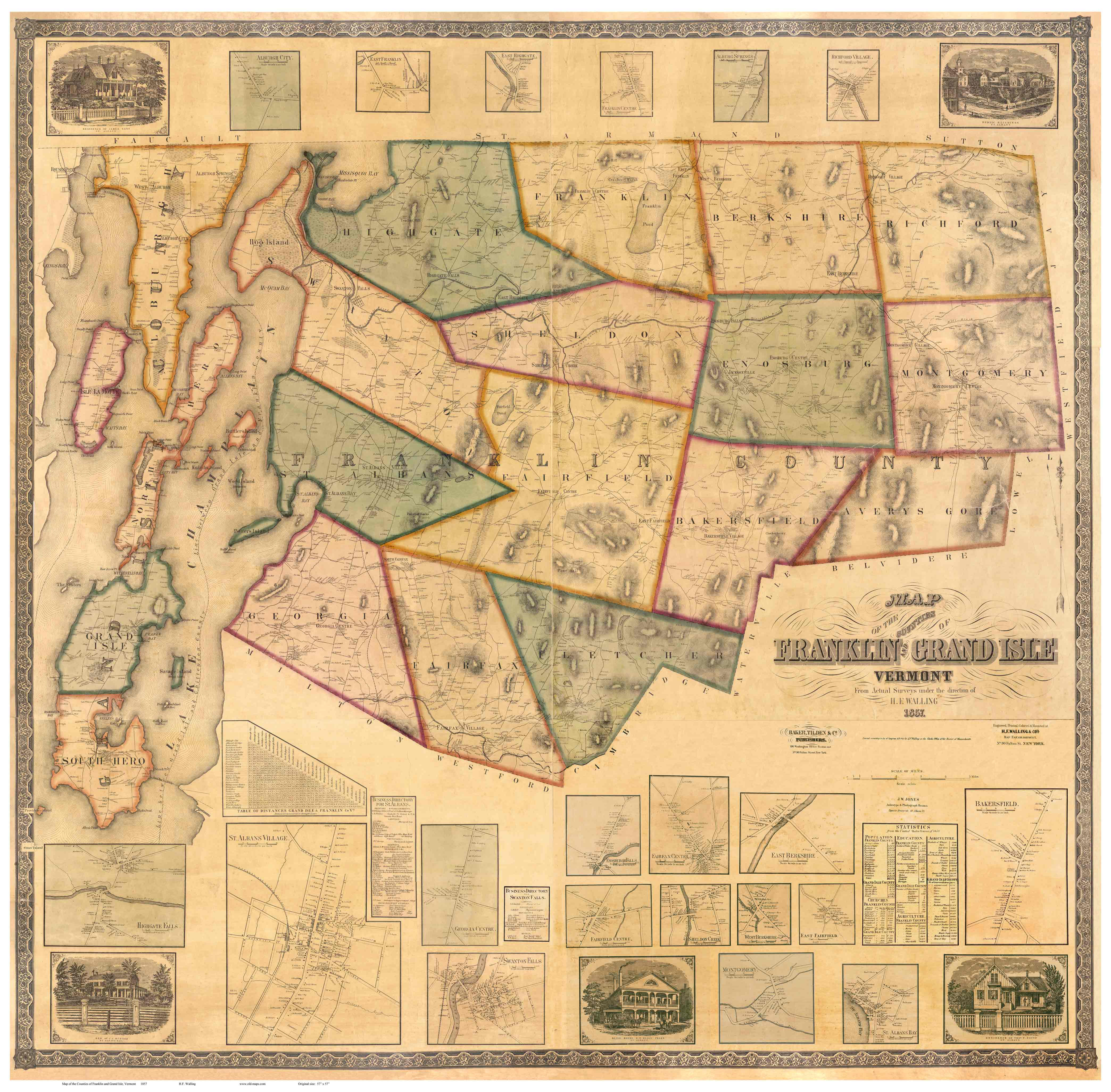 Map of Chittenden County, VT 1857 - Print of Wall Map