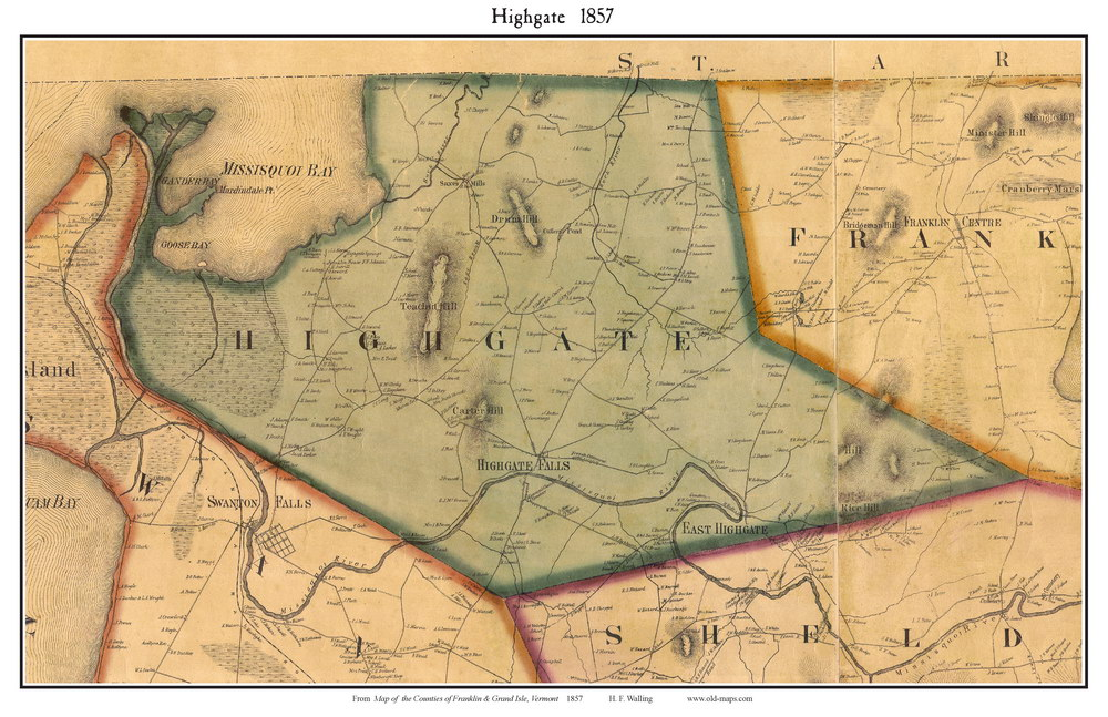 Directory Vermontvttownsfranklincotowns1857: Map Of Highgate Vermont At Usa Maps