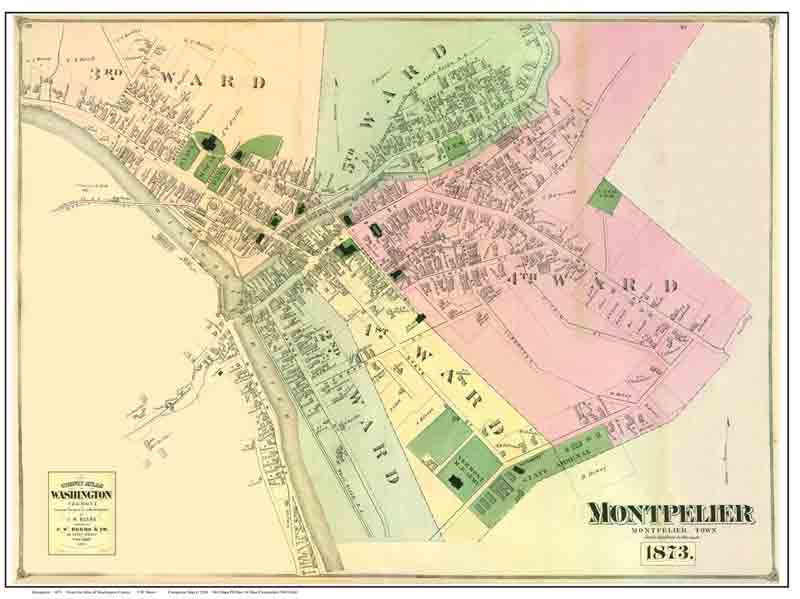 Map Of Montpelier Vermont 1873