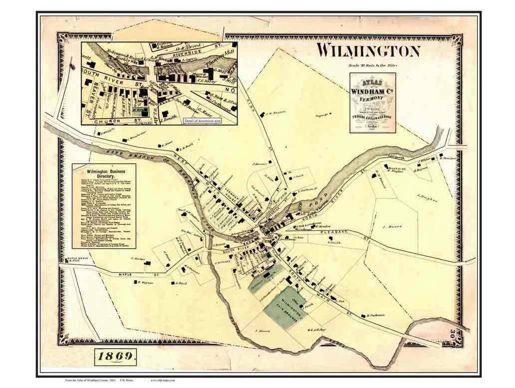 Old Maps Of Wilmington Vermont - Vermont map