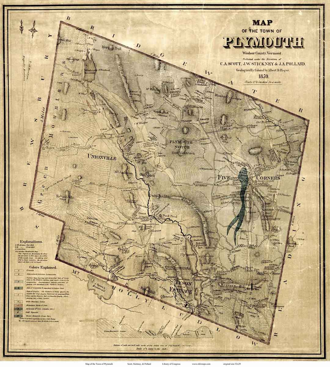 Map of plymouth vt 1859 showing gold claims publicscrutiny Choice Image