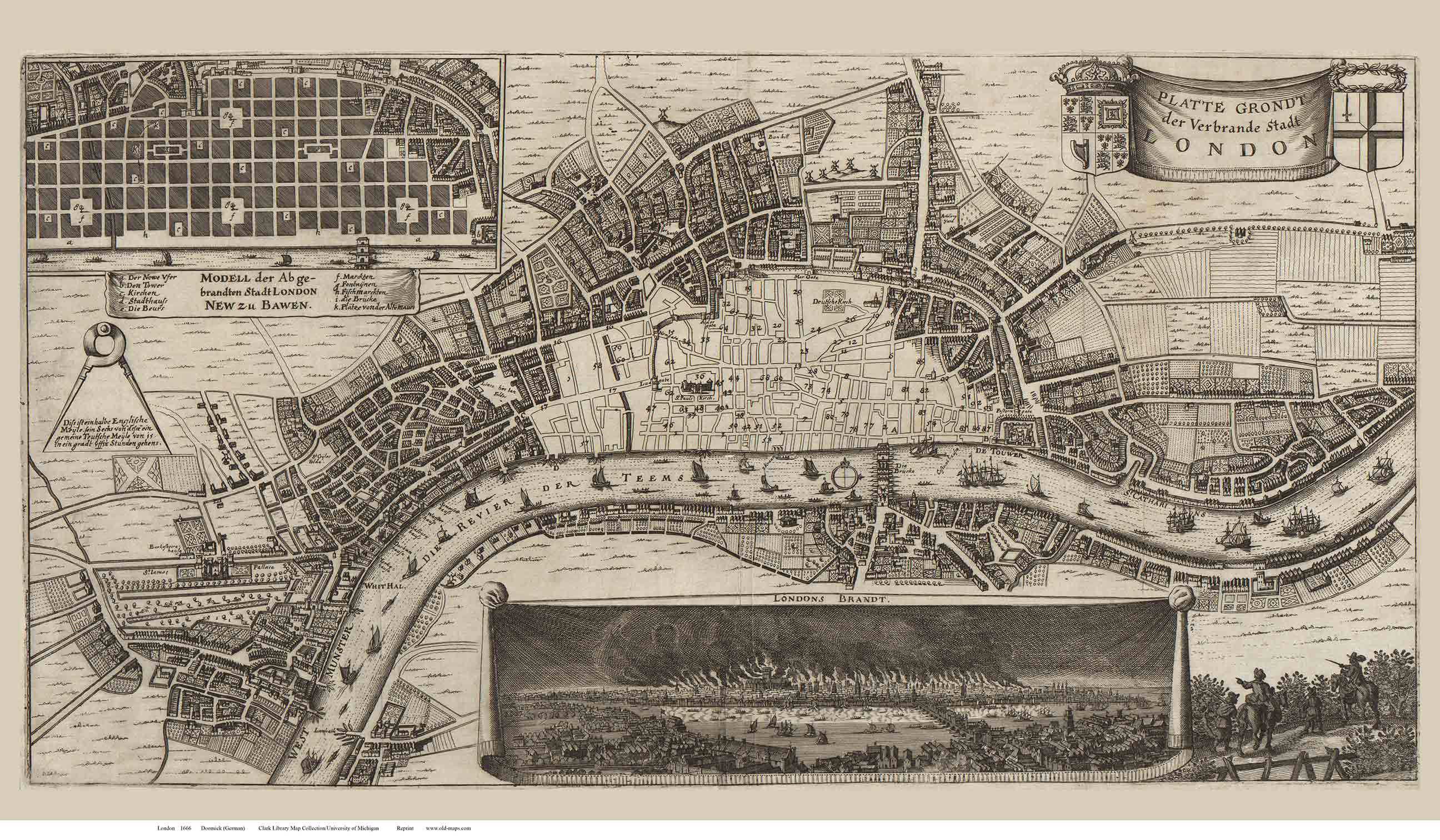 Old Map Of London 1666 Doomick Old Map Reprint Old Maps
