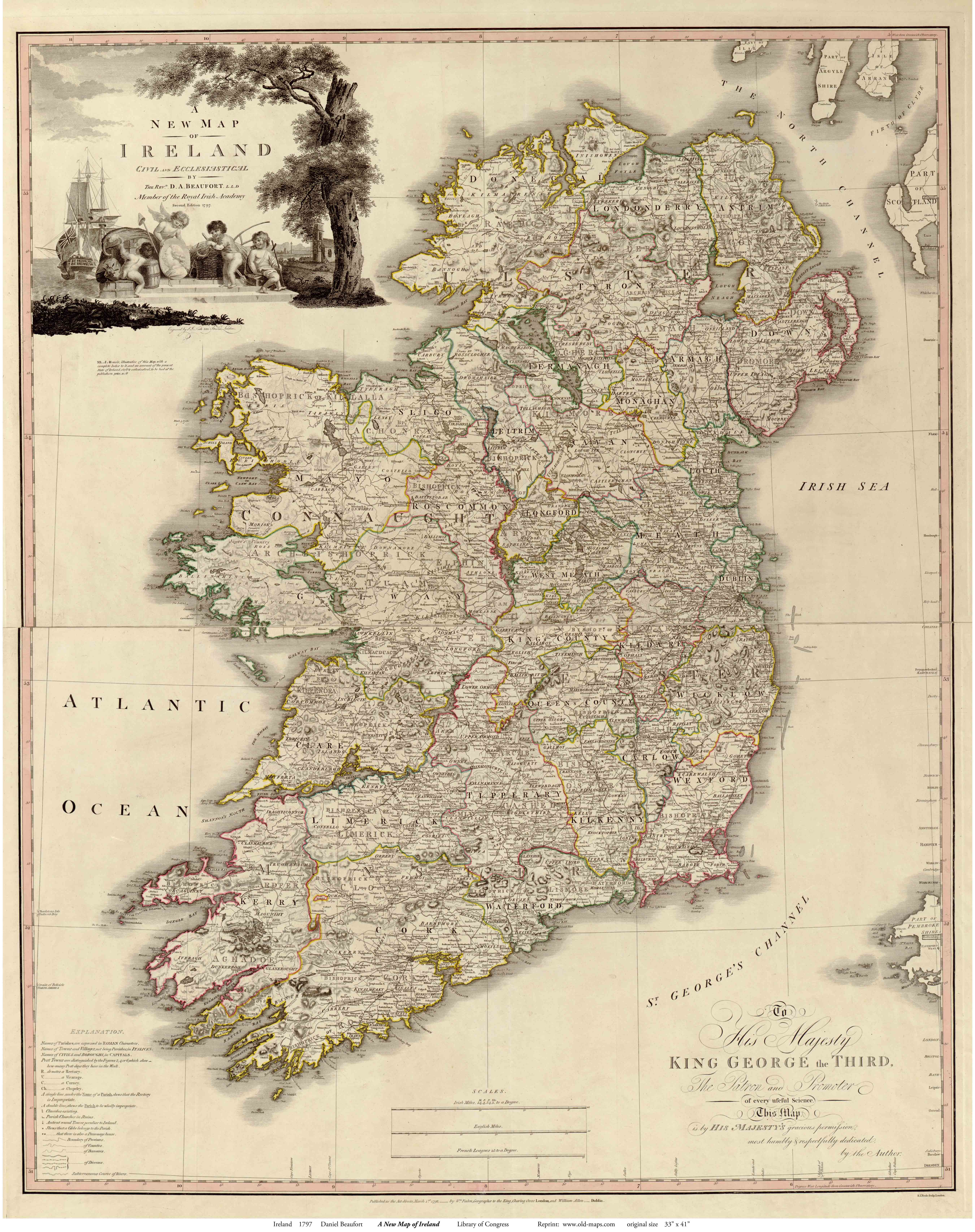 Ireland Beaufort Old Map Reprint OLD MAPS - Antique looking maps