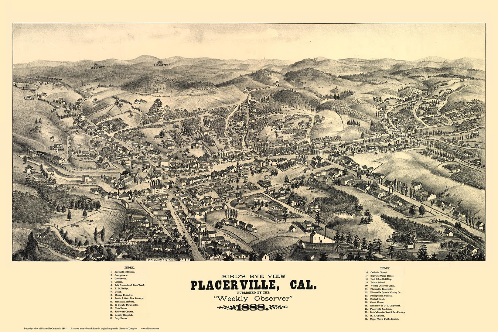 Bird/'s Eye View 1888 Placerville California Vintage Style City Map 20x30