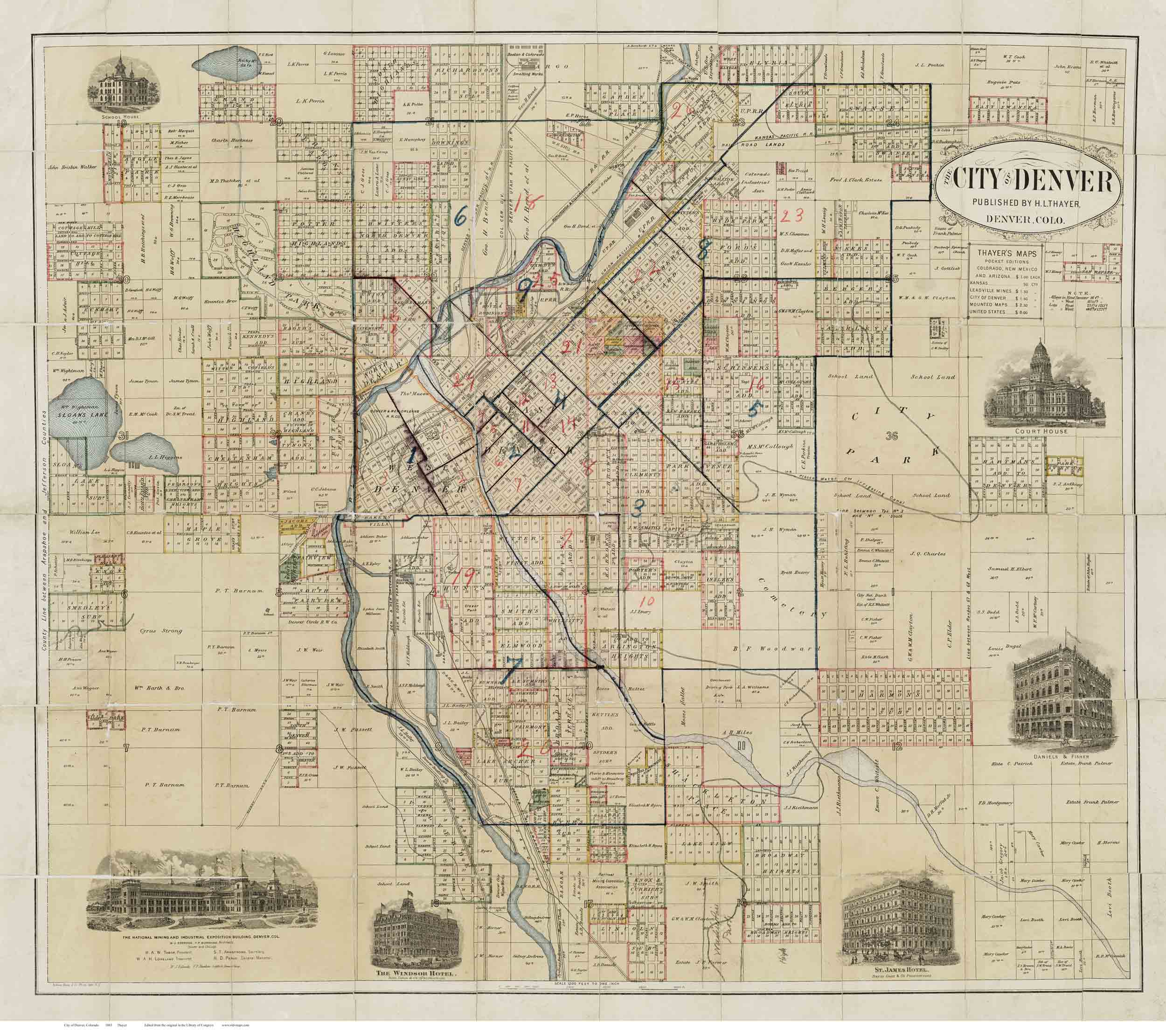 Denver 1883 Thayer - Old Map Reprint - Colorado Cities on san diego, boulder colorado map, centennial colorado map, missoula montana map, rocky mountains, evans colorado map, salt lake city, las vegas map, lakewood colorado map, colorado state map, casper wyoming map, elizabeth colorado map, colorado springs, estes park colorado map, denver tech center, colorado rockies map, new orleans, castle rock co map, federal heights colorado map, colorado us map, loveland colorado map, sterling colorado map, san antonio, usa map, united states map, kansas city,