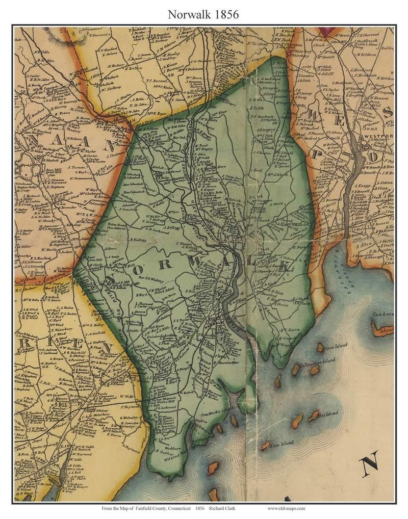 Norwalk, Connecticut 1856 Fairfield Co. - Old Map Custom Print - OLD ...
