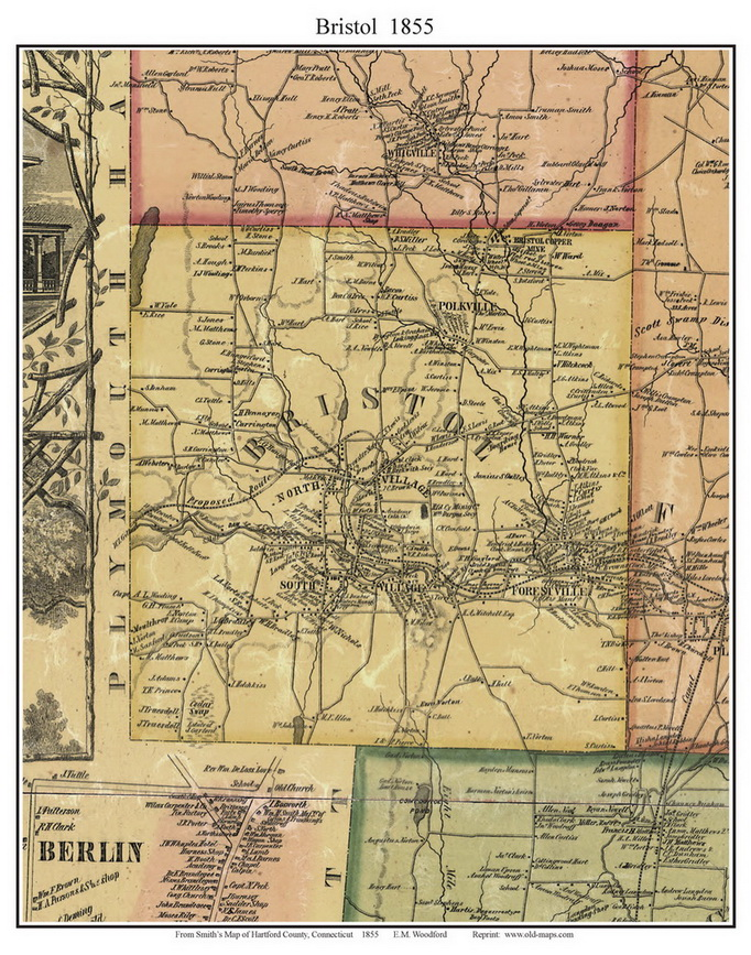 Bristol, Connecticut 1855 Hartford Co. - Old Map Custom Print