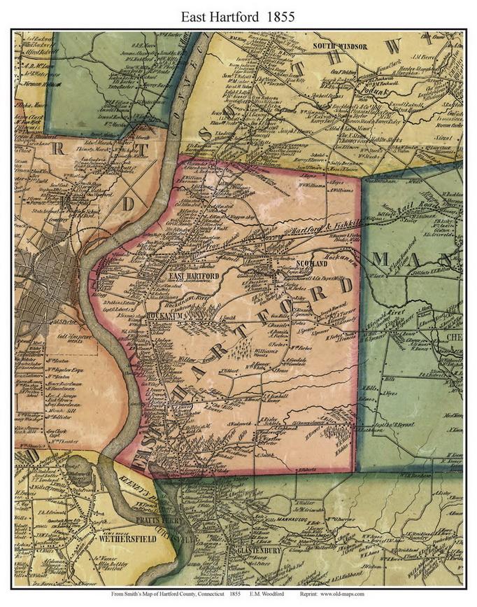 East Hartford, Connecticut 1855 Hartford Co. - Old Map Custom Print