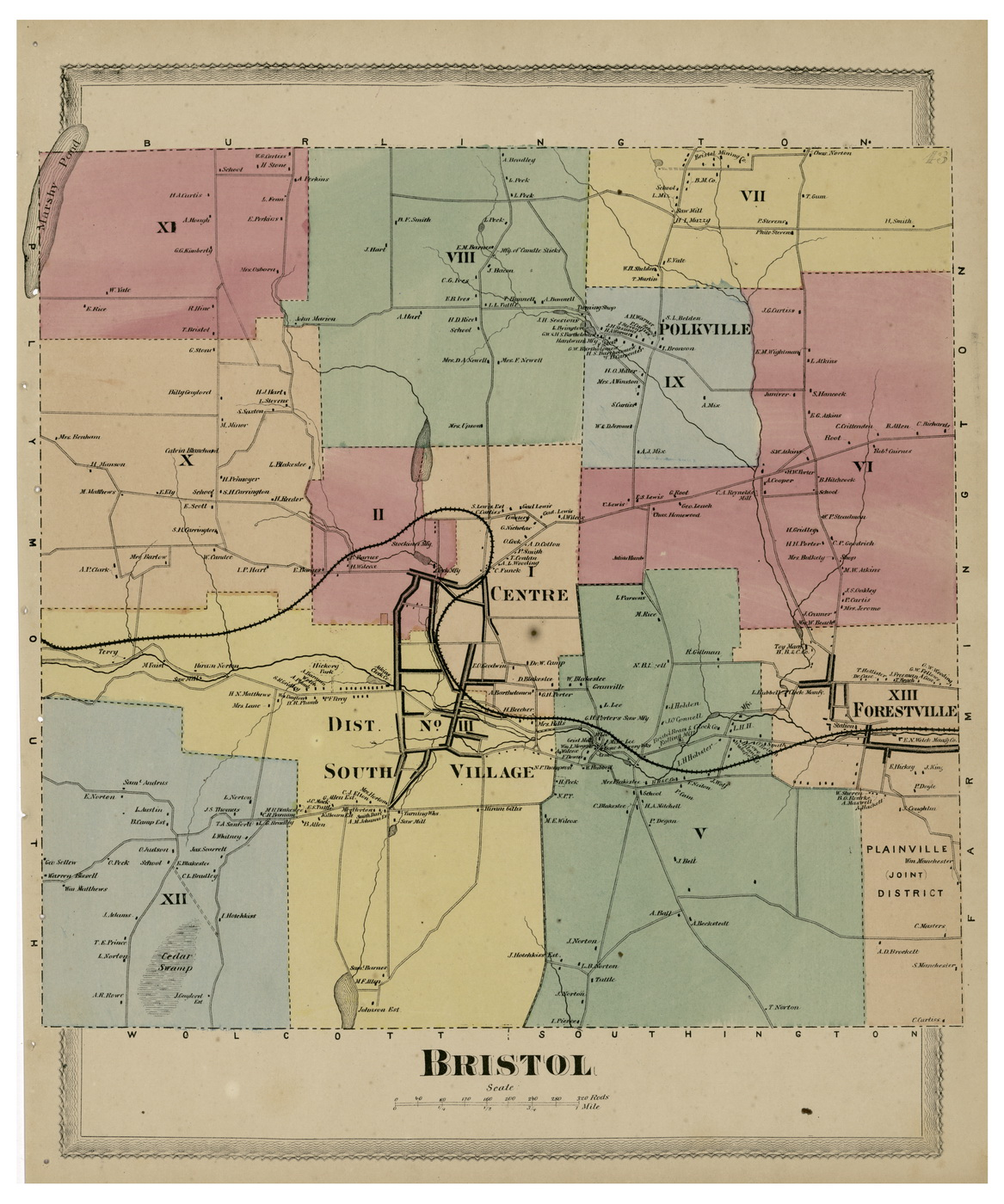Bristol, Connecticut 1869 Hartford Co. - Old Map Reprint - OLD MAPS