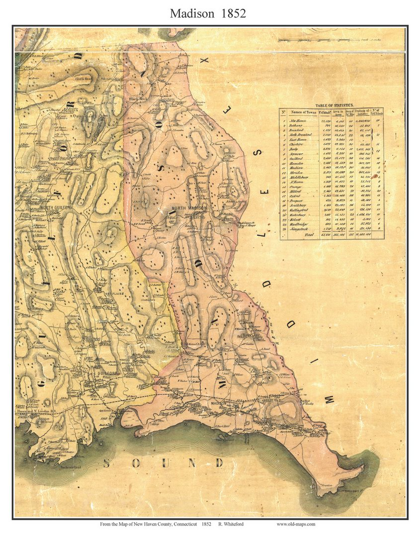 Madison Connecticut 1852 New Haven Co  Old Map Custom