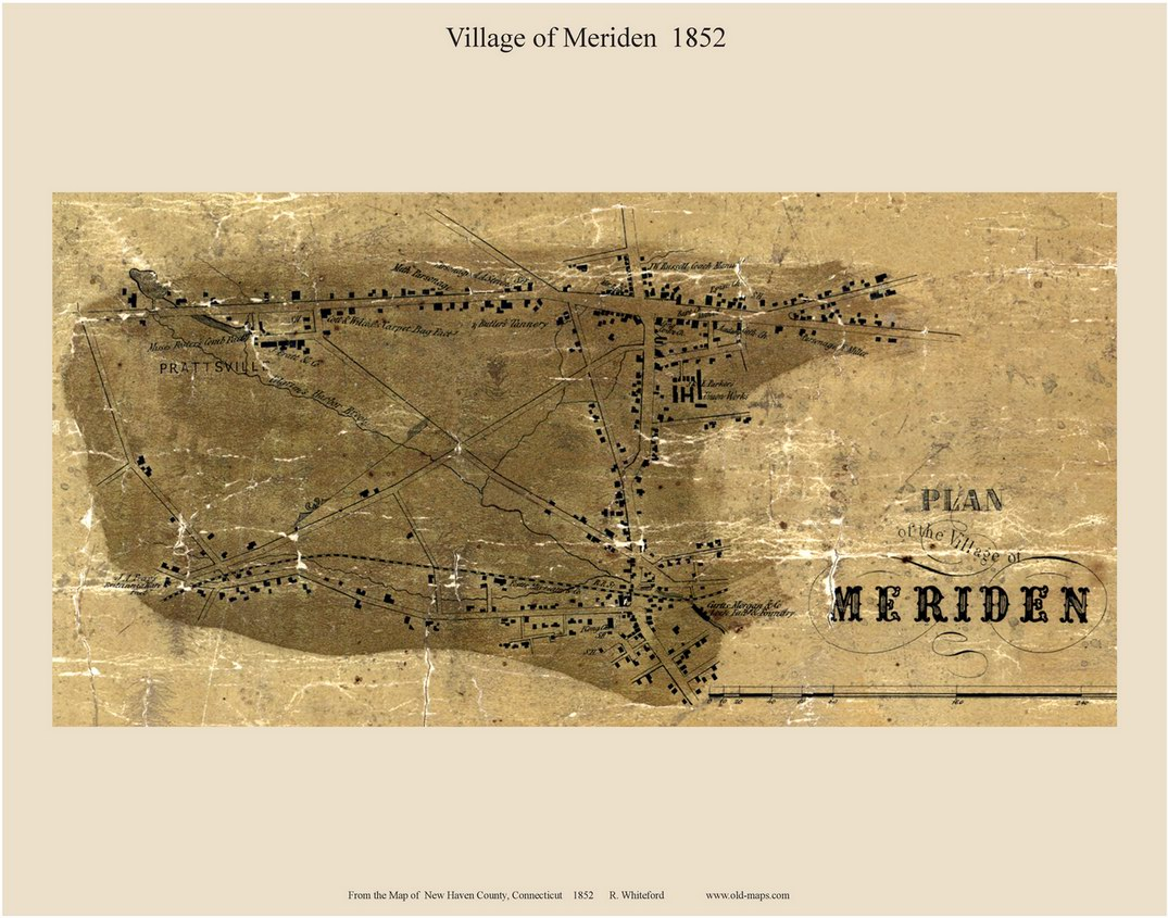 Meriden Village Connecticut 1852 New Haven Co Old Map Custom