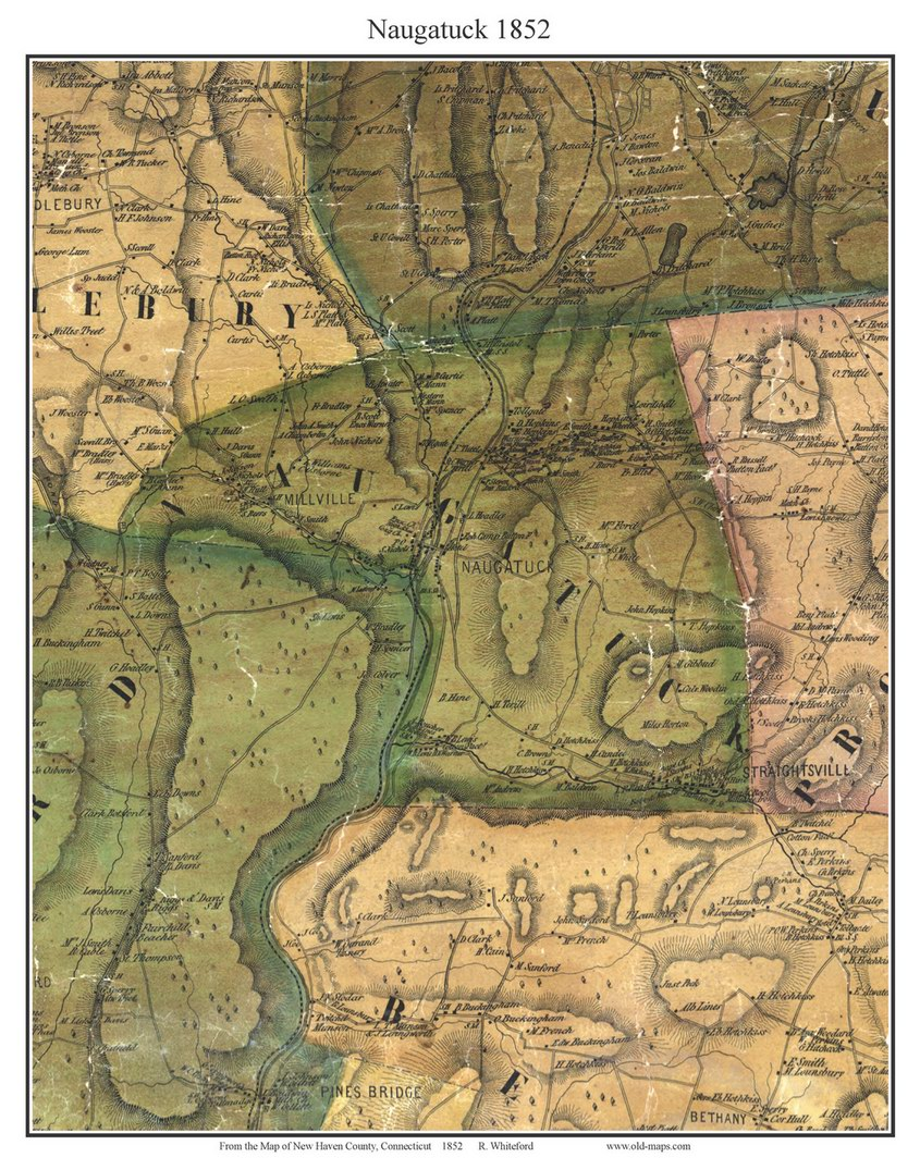 Naugatuck Connecticut 1852 New Haven Co Old Map Custom Print