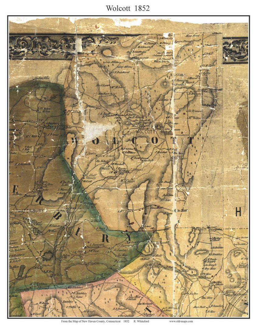 Wolcott Connecticut 1852 New Haven Co Old Map Custom Print OLD