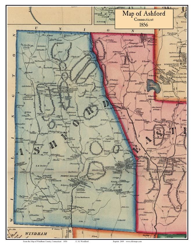 Ashford Connecticut 1856 Windham Co Old Map Custom