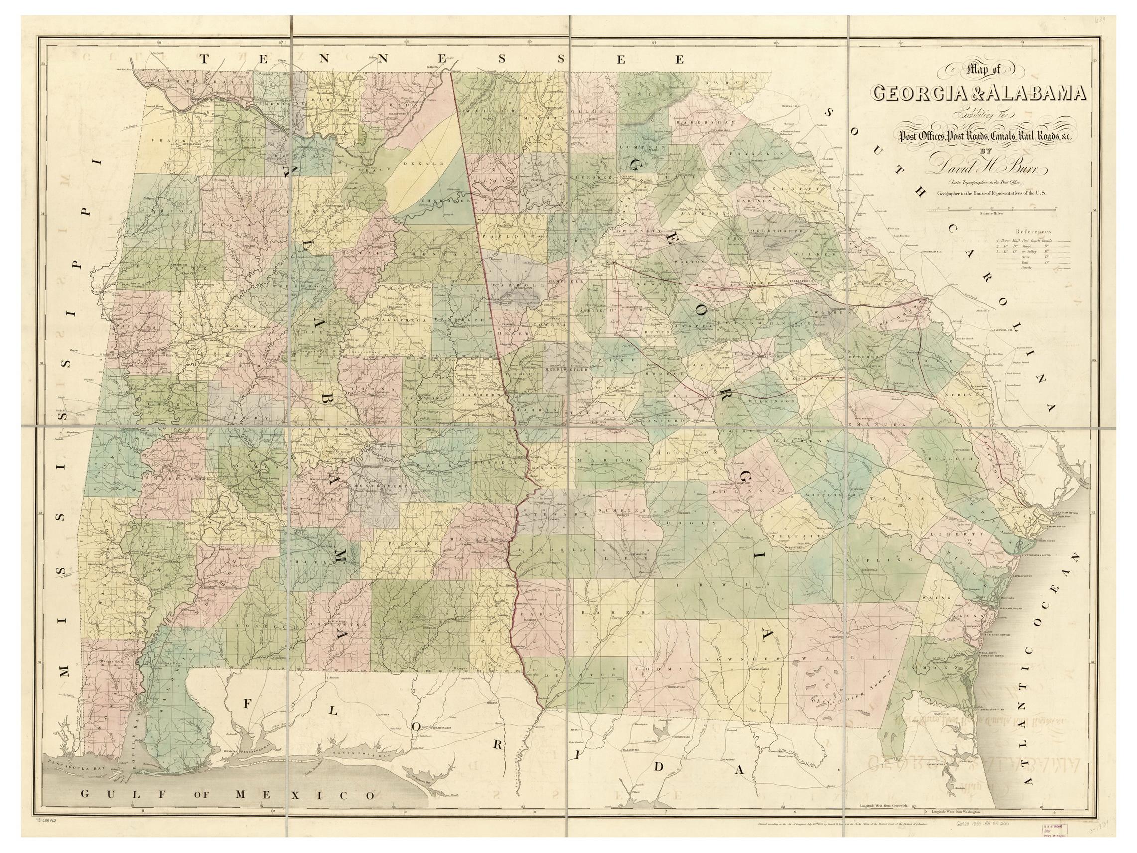 Old Maps Of Georgia - Georgia map 1921