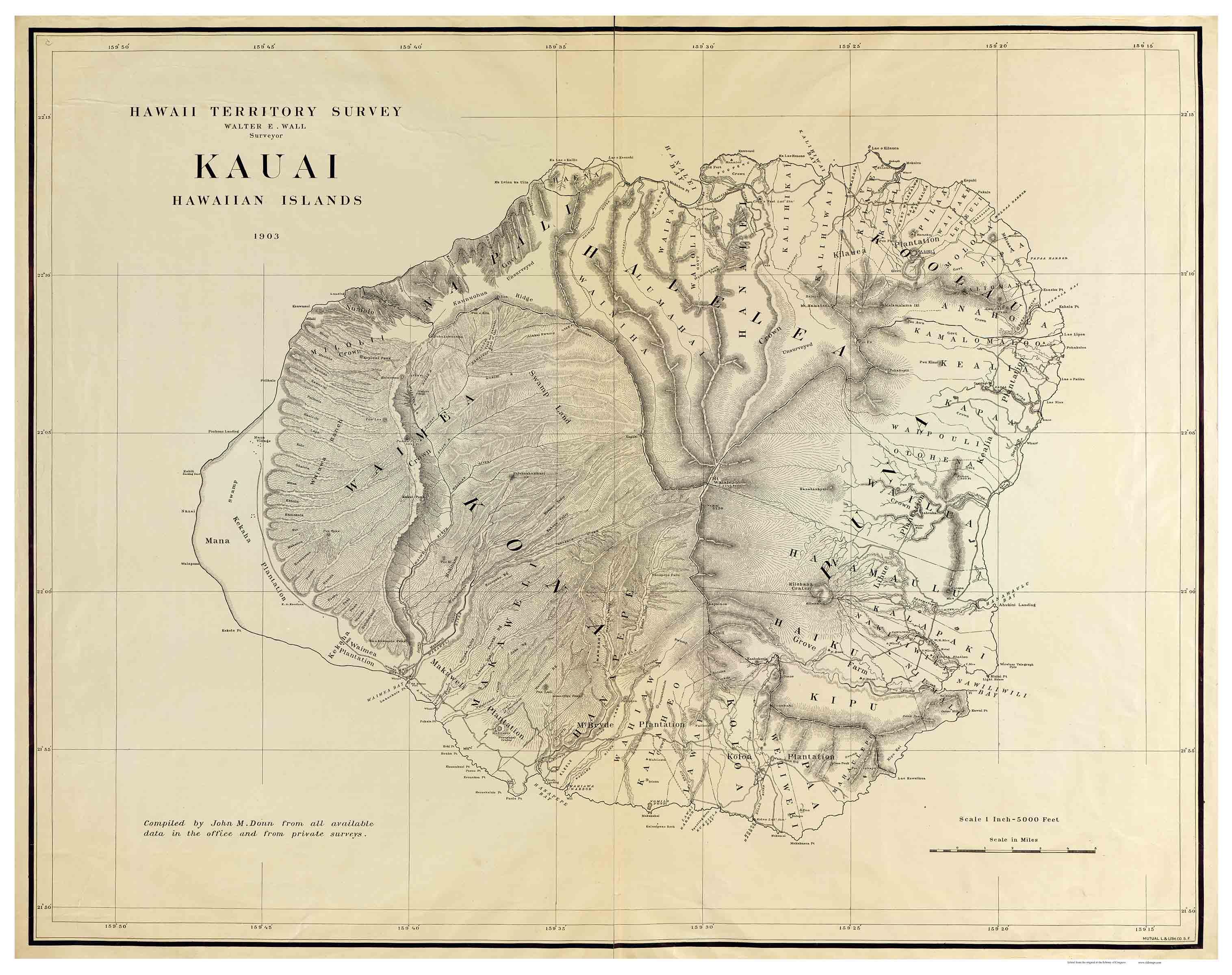 Island Of Kauai Hawaii 1903 Old Map Reprint Old Maps