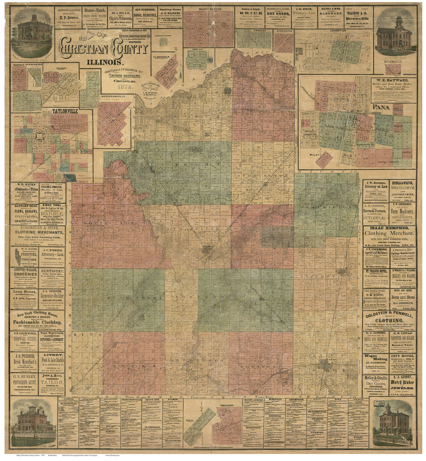 Christian County, Illinois 1872 - Old Map Reprint on old maps of columbia county, old schools in st. croix county wi, old texas state map,