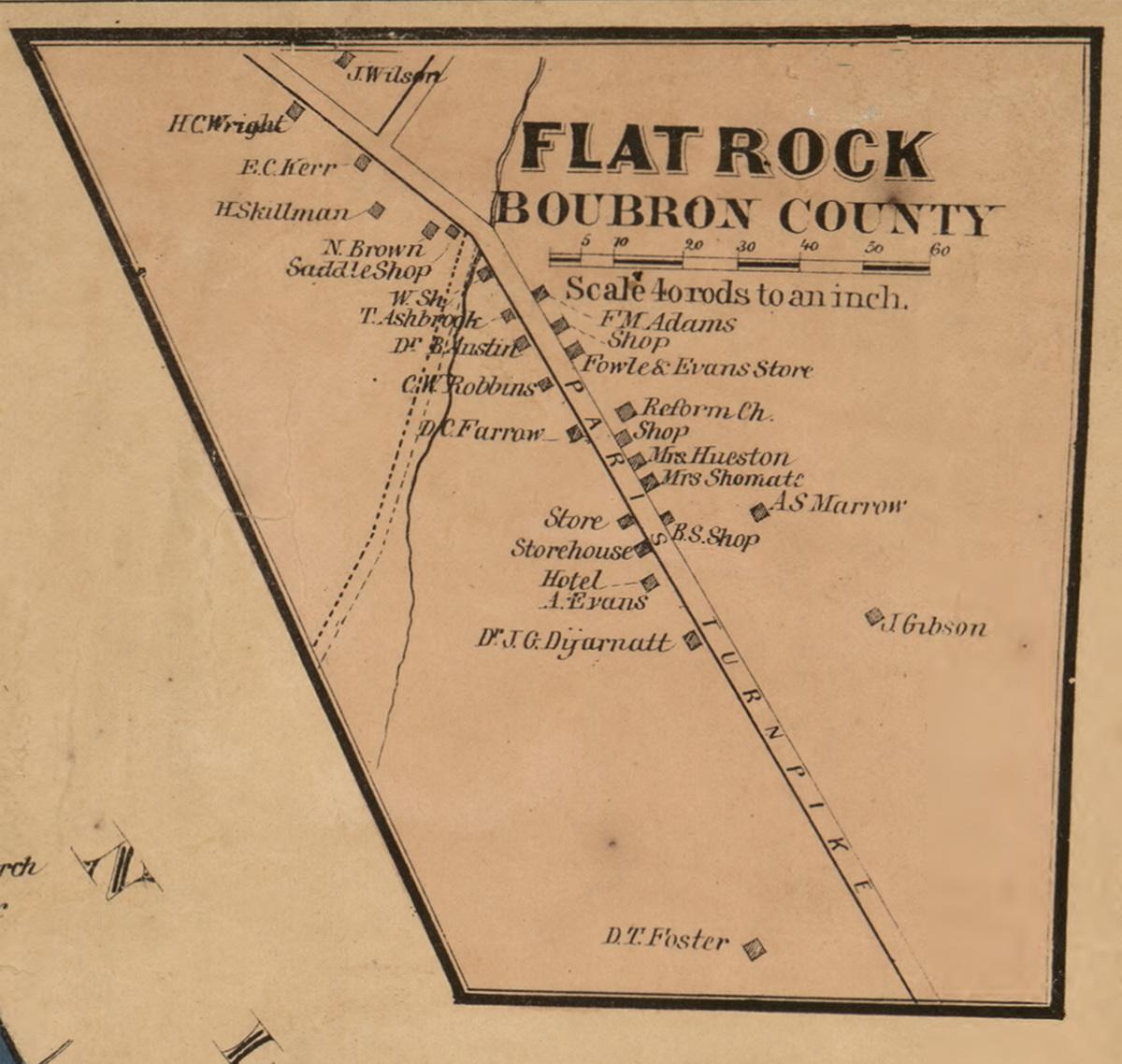 Flat Rock Bourbon County Kentucky 1861 Old Town Map Custom Print Bourbon Co Old Maps