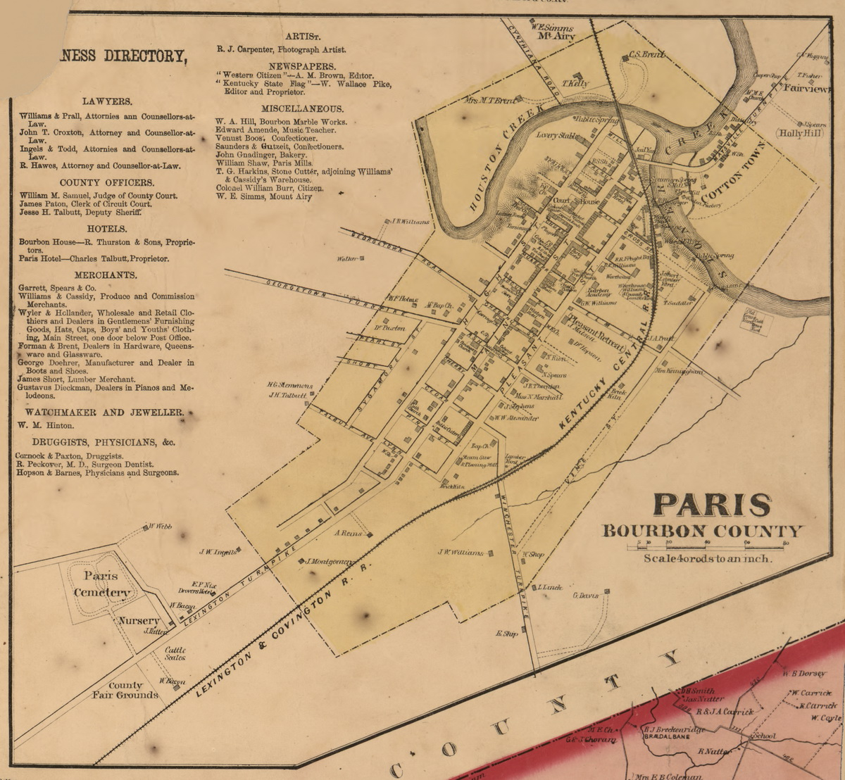Picture of: Paris Bourbon County Kentucky 1861 Old Town Map Custom Print Bourbon Co Old Maps