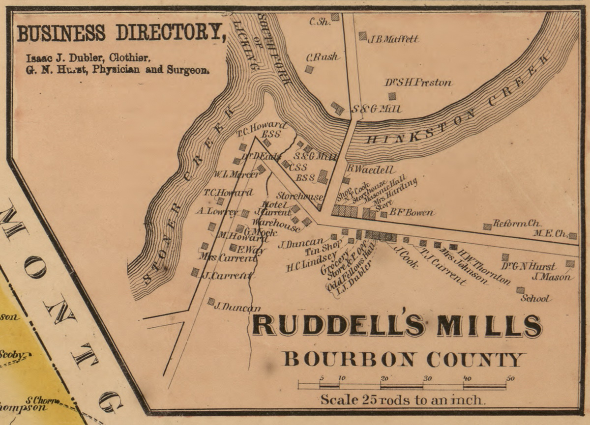 Picture of: Ruddells Mills Bourbon County Kentucky 1861 Old Town Map Custom Print Bourbon Co Old Maps