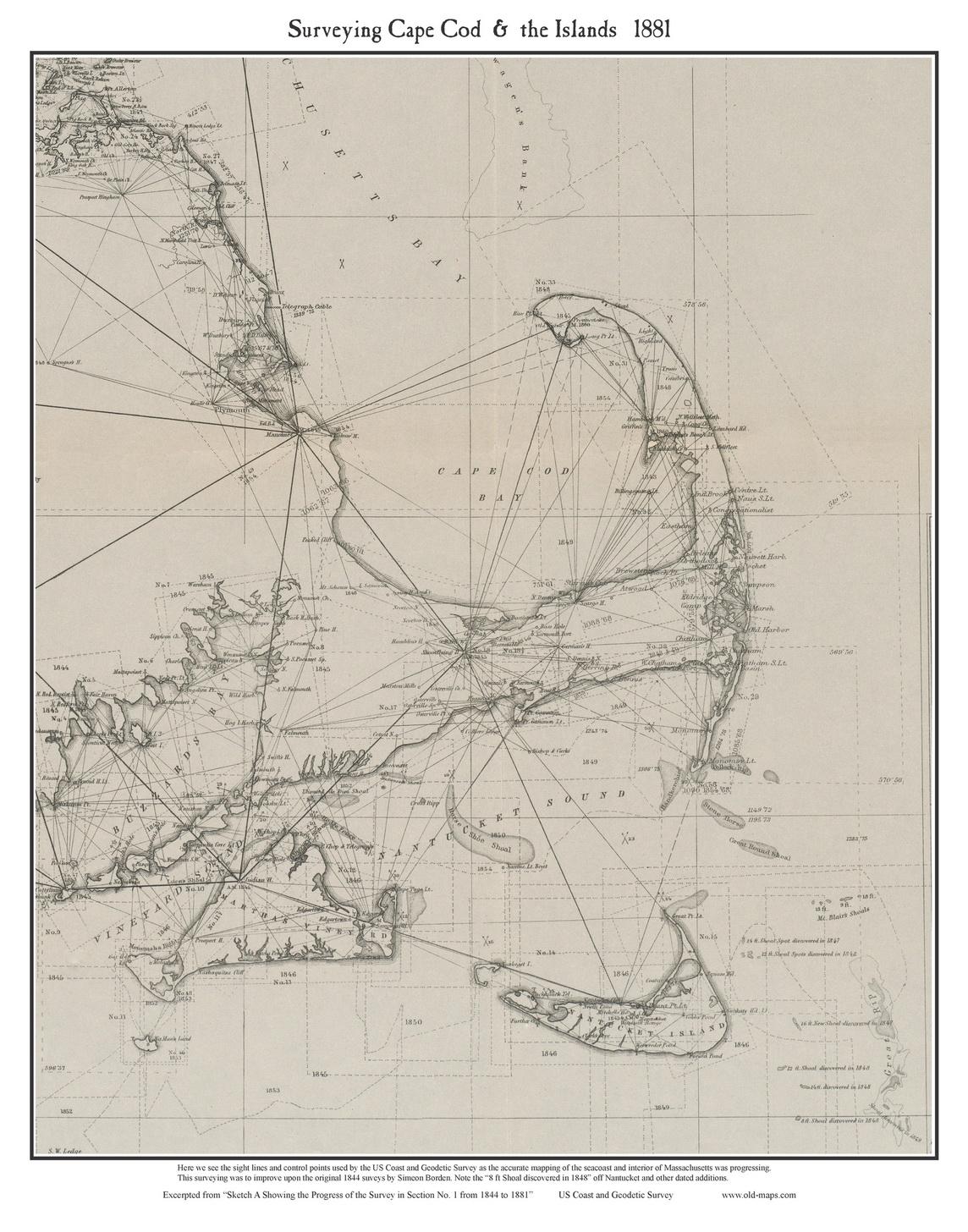 Cape Cod 1881 US Coast Geodetic Survey Old Map Custom Print