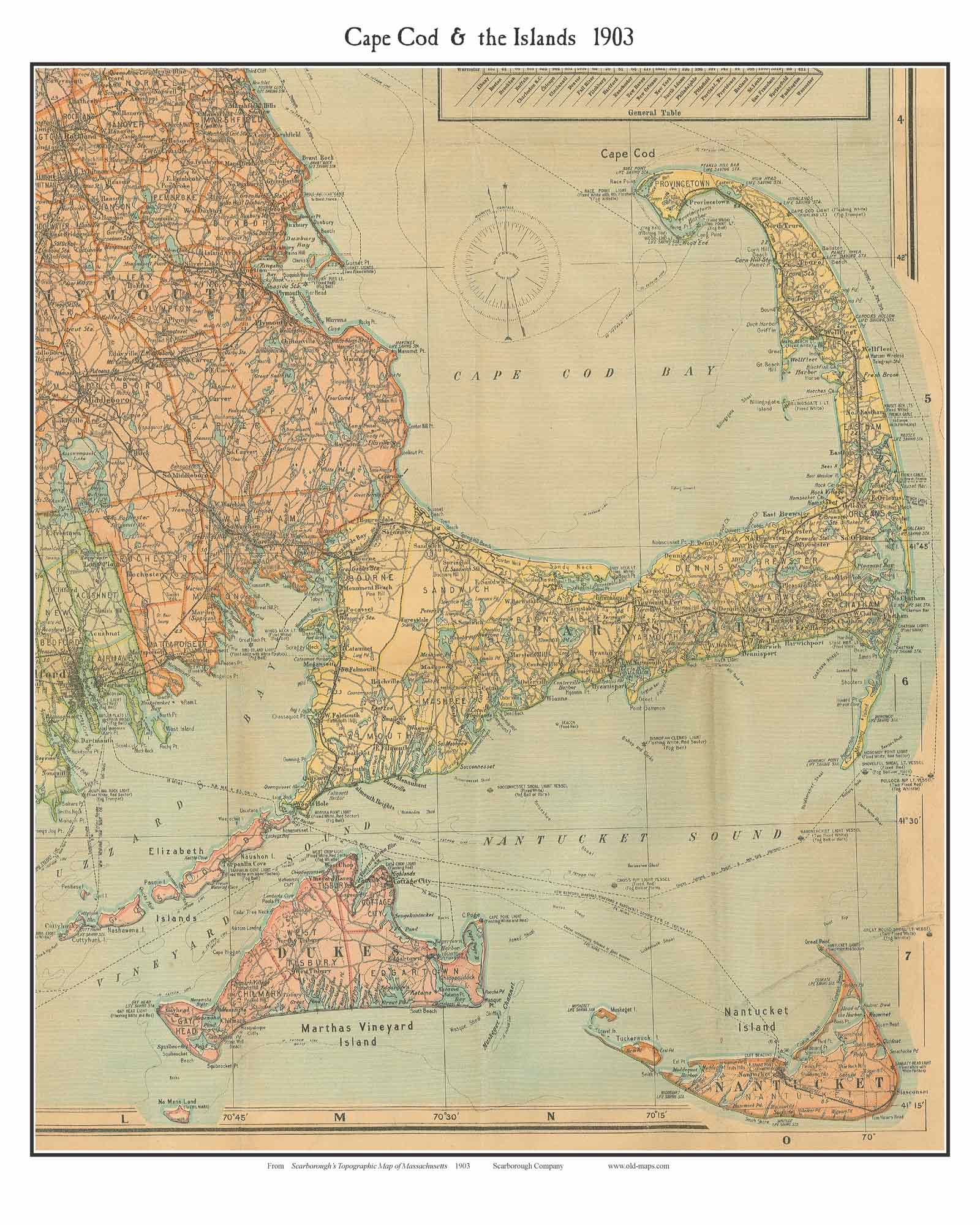 Cape Cod 1903 Scarborough - Old Map Custom Print - OLD MAPS