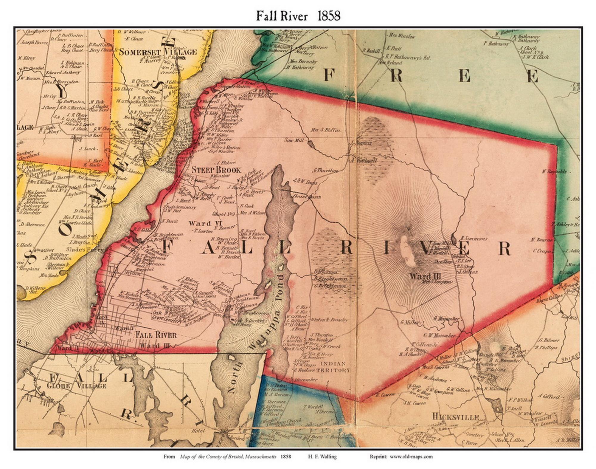 Fall River, Massachusetts 9 Old Town Map Custom Print - Bristol Co.