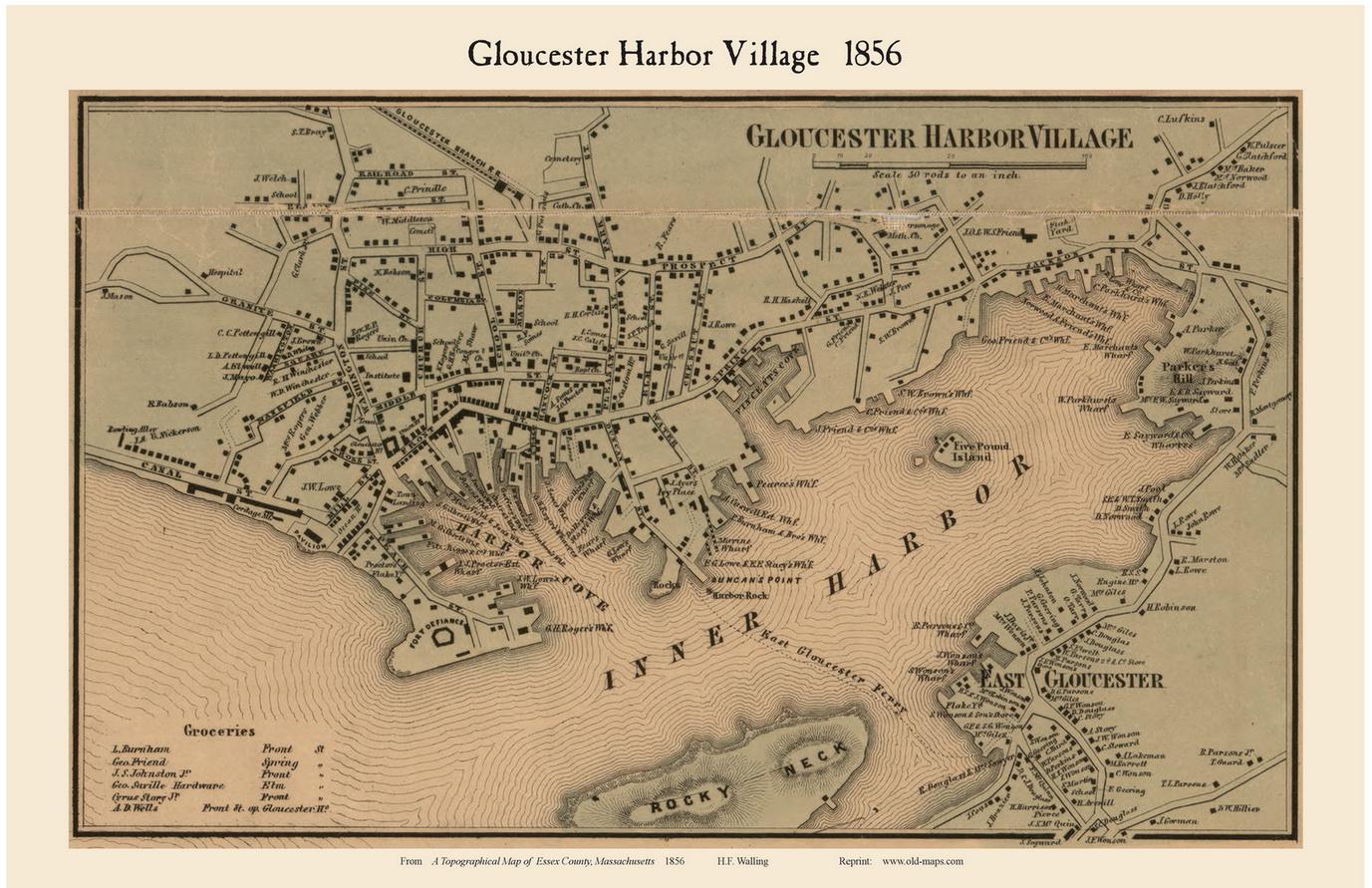 Gloucester Virginia Map.Gloucester Harbor Village Massachusetts 1856 Old Town Map Custom