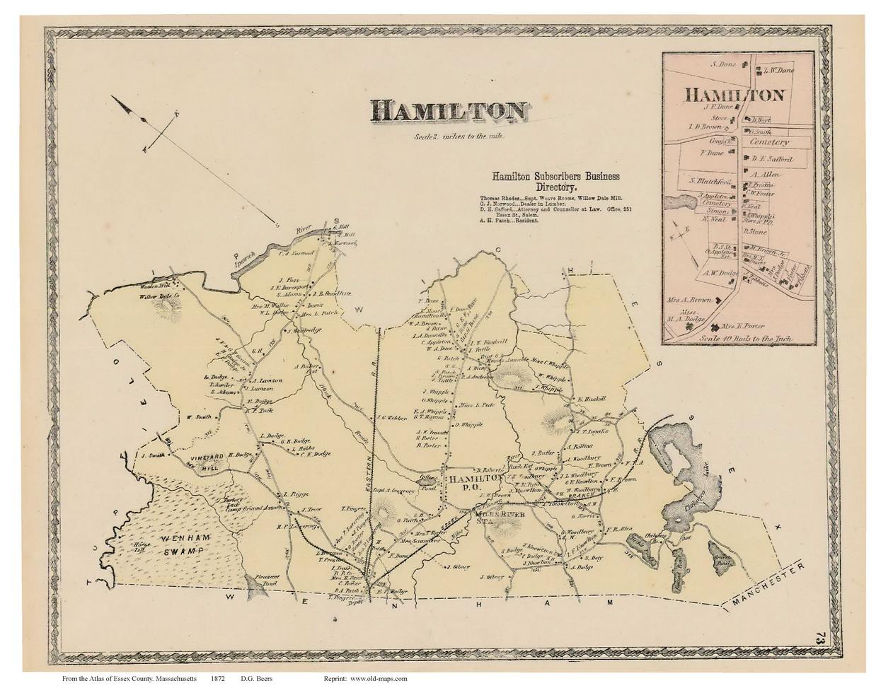 Hamilton Hamilton Village Massachusetts 1872 Old Town Map Reprint