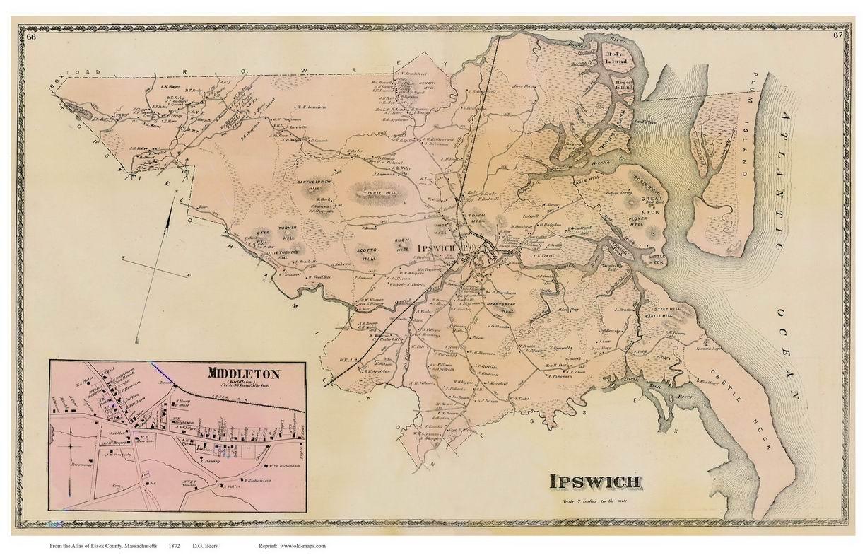 Ipswich Middletown Massachusetts 1872 Old Town Map Reprint Essex