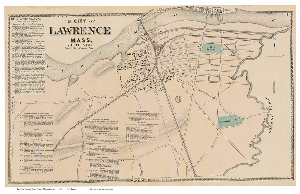 South Lawrence, Machusetts 1872 Old Town Map Reprint - Essex Co. on map of metro boston ma, map of streets north adams, map of mass coastline, map of so shore ma, map of ri and ma,