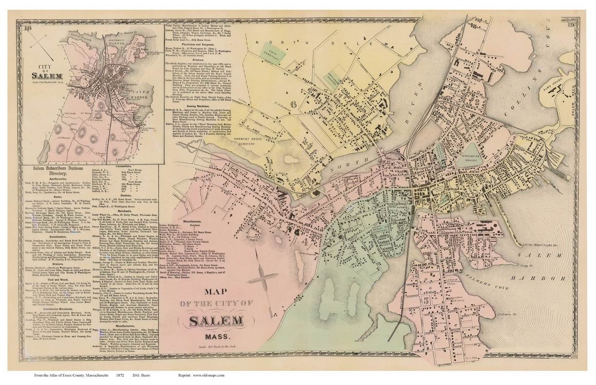 Salem Massachusetts 1872 Old Town Map Reprint Essex Co OLD MAPS
