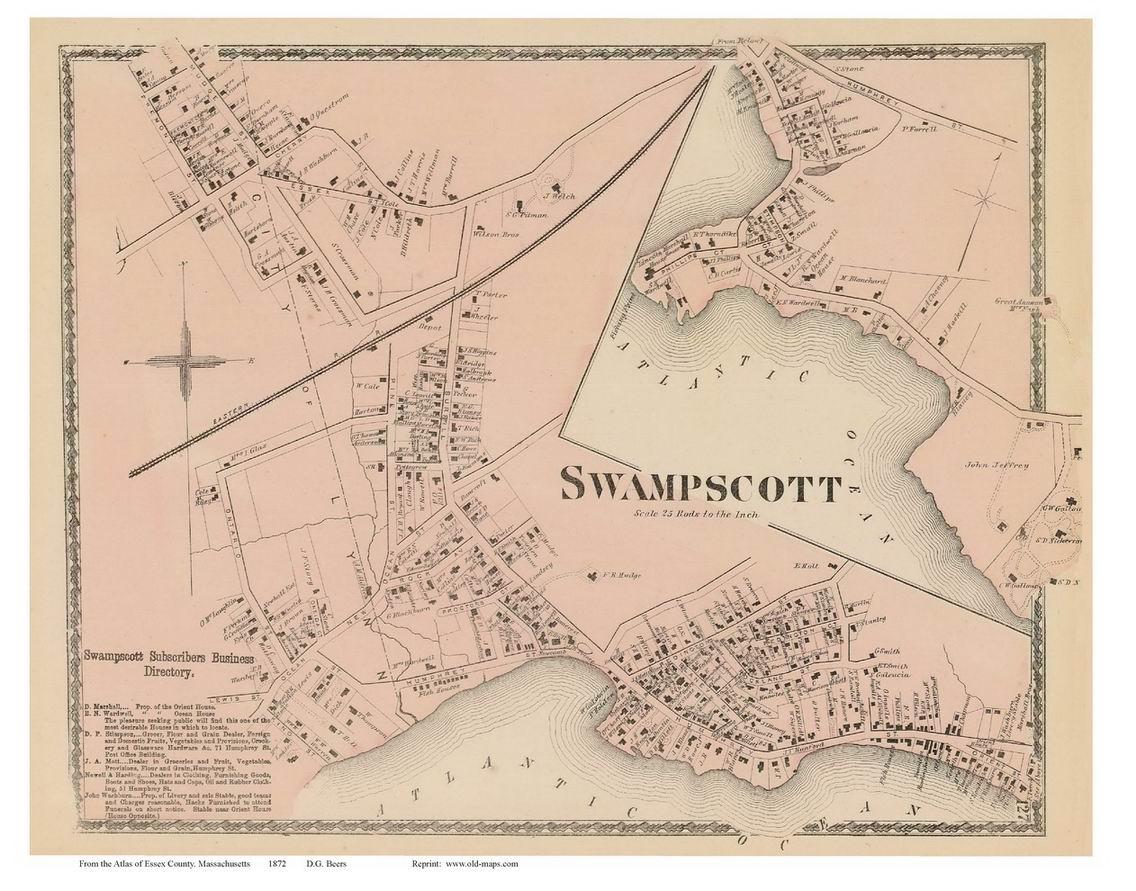 1924 Swampscott Essex County City of Lynn Massachusetts Jackson Park Foster Pond ATLAS MAP REPRODUCTION