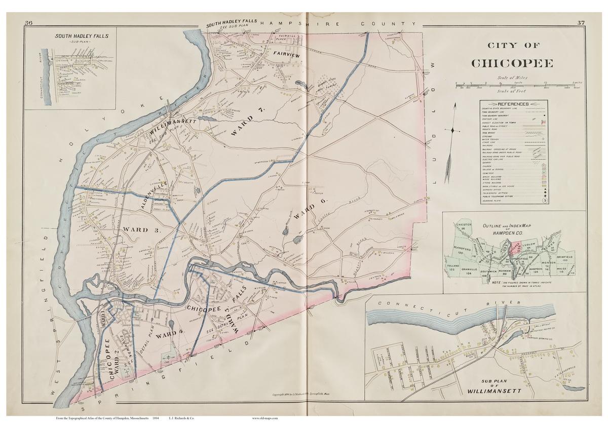 Chicopee Massachusetts 1894 Old Town Map Reprint Hampden Co