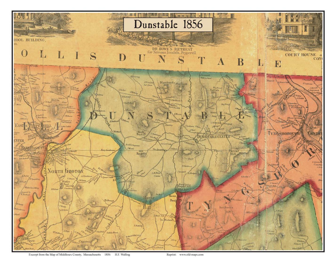 Dunstable Massachusetts 1856 Old Town Map Custom Print Middlesex