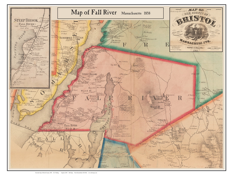 Fall River Poster Map, 9 Bristol Co. MA