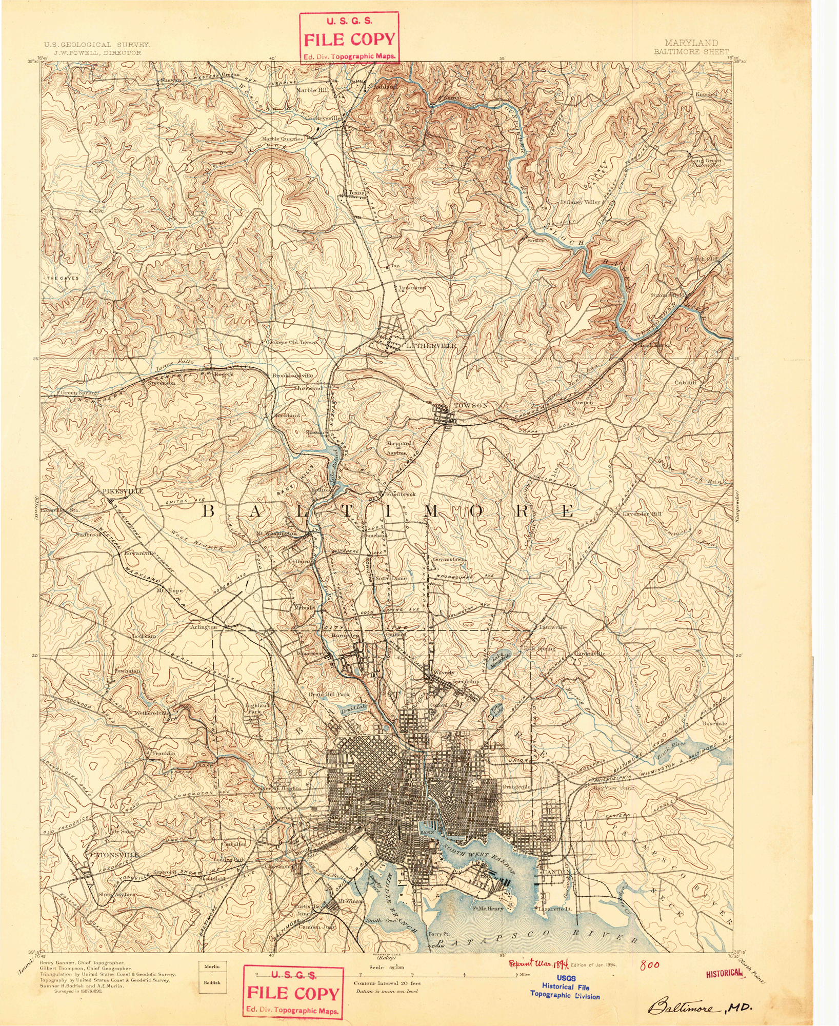 Baltimore, Maryland 1894 (1894a) USGS Old Topo Map 15x15 Quad