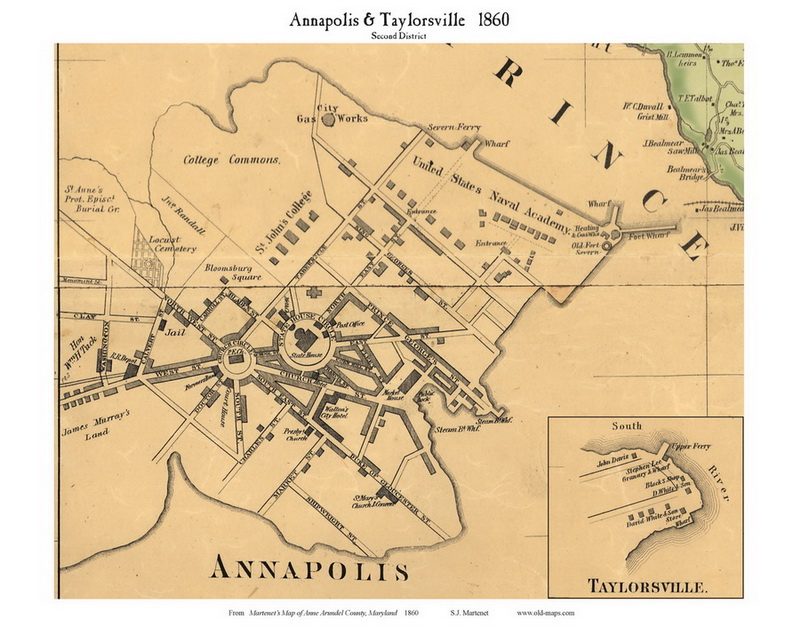 Annapolis and Taylorsville - 2nd District, Annapolis, Maryland 1860 Old  Town Map Custom Print - Anne Arundel Co.