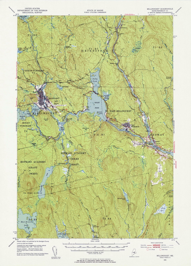 Millinocket (ME) United States  city pictures gallery : Millinocket, Maine 1951 USGS Topo Map OLD MAPS