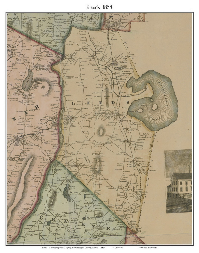 Leeds Maine 1858 Old Town Map Custom Print Androscoggin Co OLD