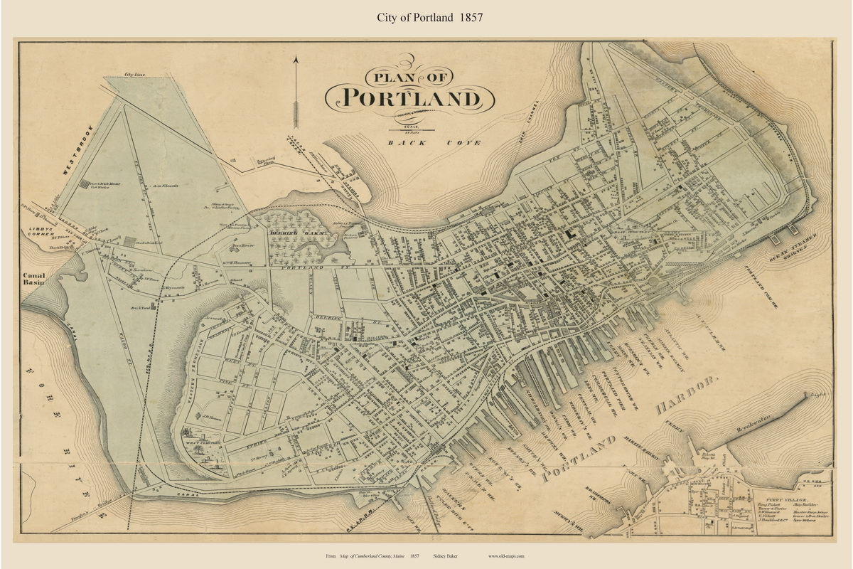 Old Maine Map.City Of Portland Maine 1857 Old Town Map Custom Print Cumberland