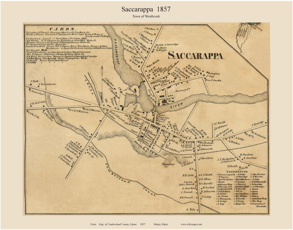 Saccarappa Maine 1857 Old Town Map Custom Print Cumberland Co