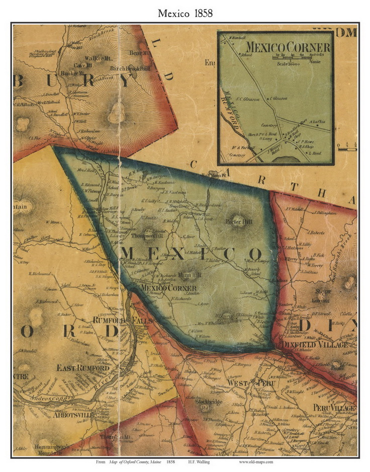 Mexico Maine Map.Mexico Maine 1858 Old Town Map Custom Print Oxford Co Old Maps