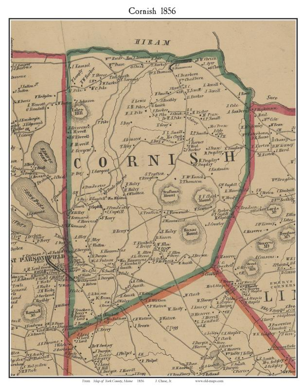 Cornish, Maine 1856 Old Town Map Custom Print   York Co.   OLD MAPS
