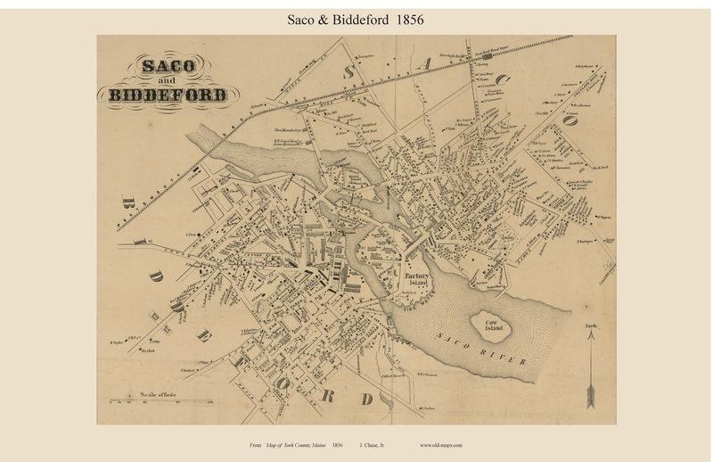 Saco Biddeford Village Maine 1856 Old Town Map Custom Print